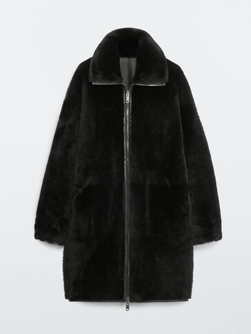 Black mouton and leather coat