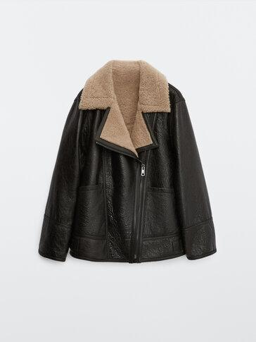 Mouton leather biker jacket