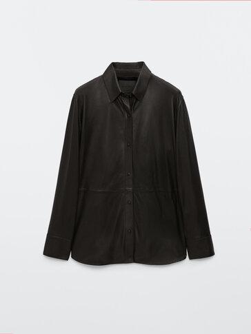 Black nappa leather shirt