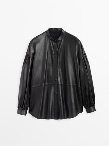 Μαύρο πουκάμισο από δέρμα νάπα