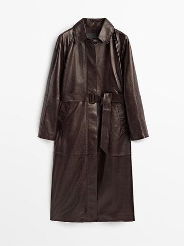 Leather trench coat with belt Limited Edition