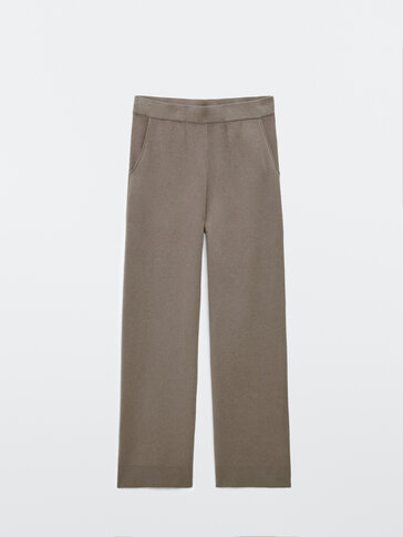 Knit trousers with ribbed hems
