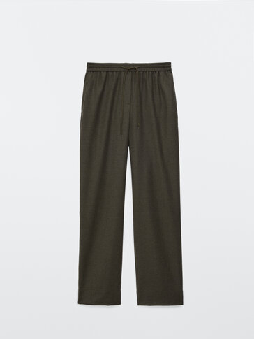 Flannel jogging-fit trousers