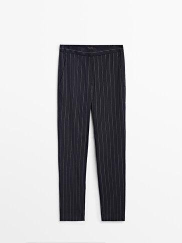 Vunene hlače cigareta kroja sa sitnim prugama