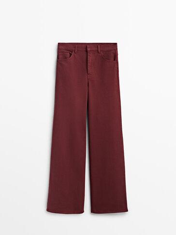 Twill wide-leg trousers