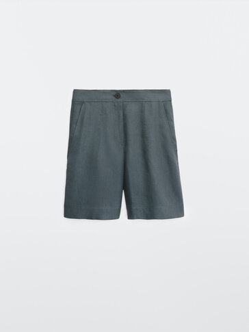 Linen darted Bermuda shorts