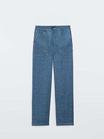 Jogging-fit linen denim trousers