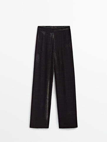 Velvet trousers with elastic waistband