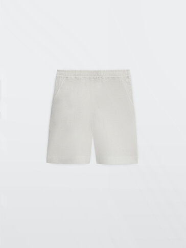 Linen Bermuda shorts with elasticated waistband