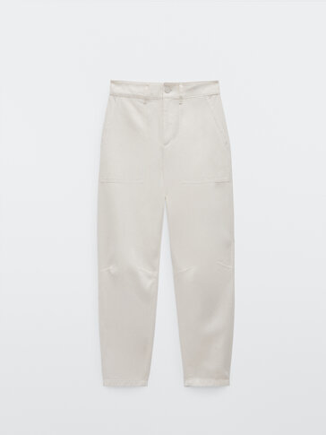 Cotton and linen relaxed fit trousers