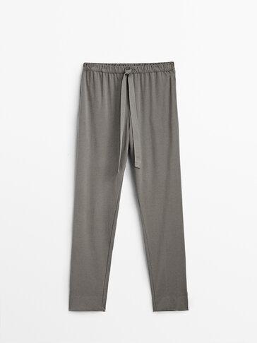 Long cotton pyjama trousers