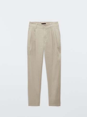 Linen and cotton darted trousers