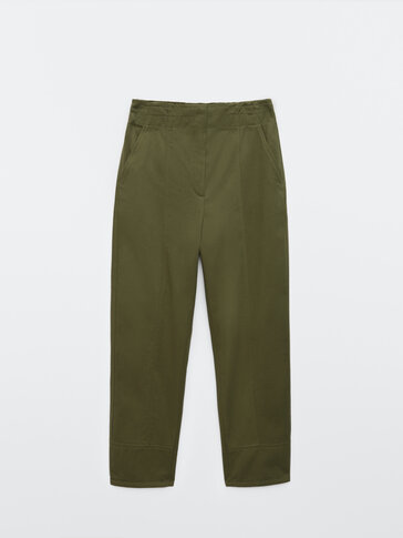 Straight fit trousers with stretch waist