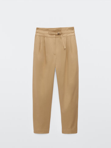 Straight-fit darted trousers with belt