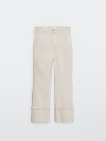 Mid-rise kick flare trousers