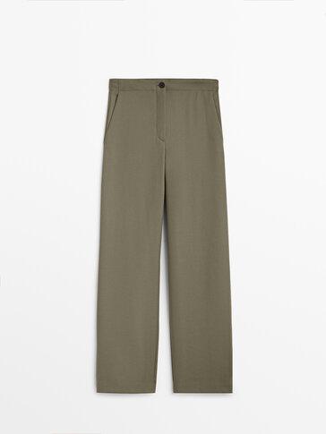Pantalon en flanelle de laine coupe droite