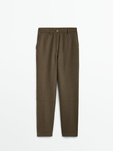 Wool trousers with seam detail