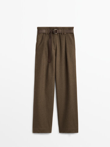 Darted wool trousers