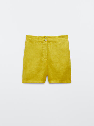 100% linen Bermuda shorts with two buttons