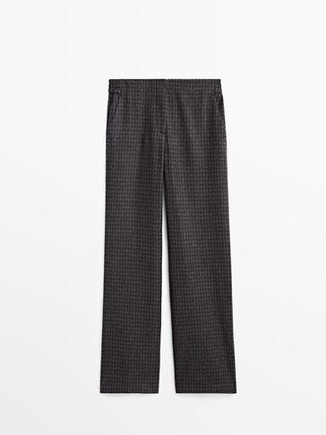 Pantalon en laine à carreaux vichy