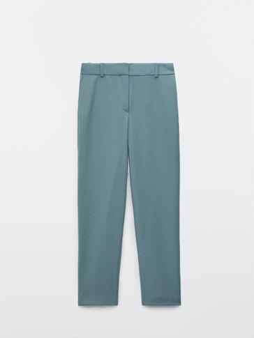 Straight-cut flannel wool trousers