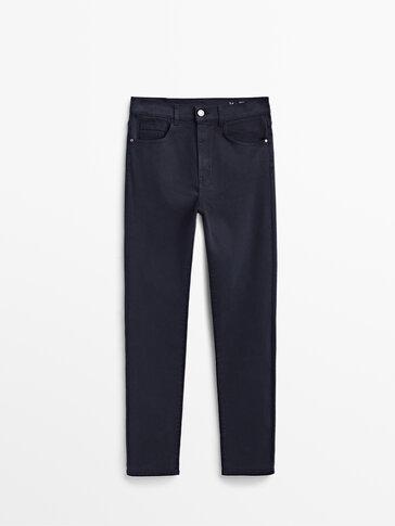 Pantaloni slim fit cu talie înaltă