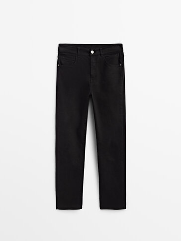 High-waist slim-fit trousers