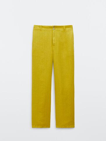 100% linen jogging fit trousers