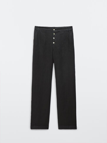 Flowing linen full length trousers