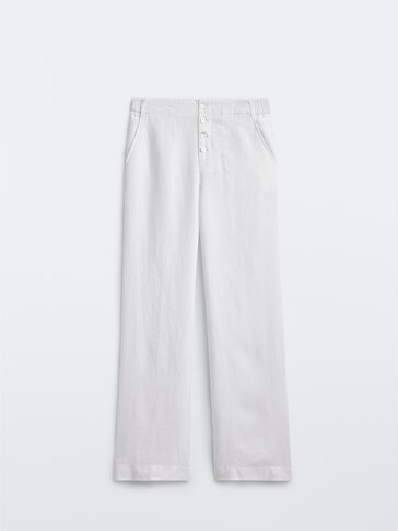 Flowing linen full-length trousers