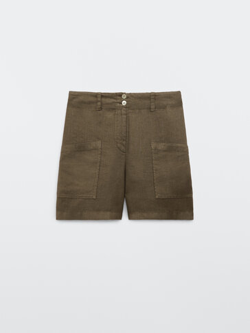 100% linen Bermuda shorts with pockets