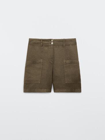 100% linen Bermuda shorts with pockets