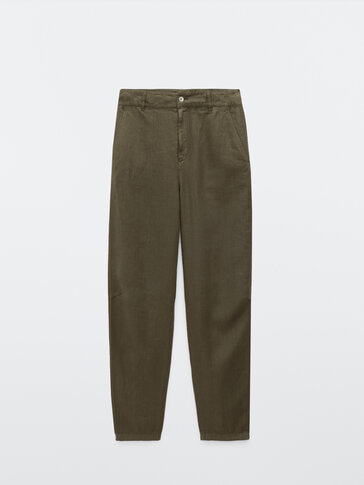 100% linen relaxed fit trousers