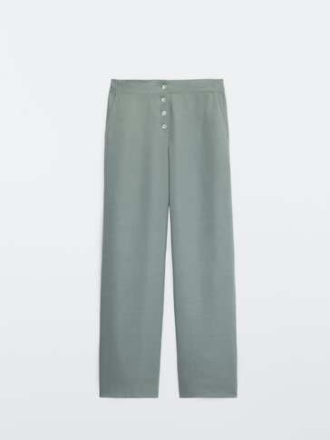Loose-fitting lyocell and linen trousers