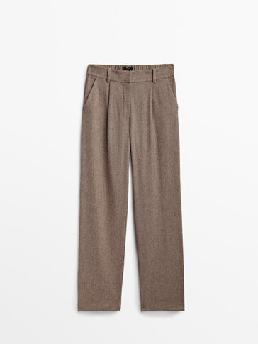 Micro-check dad fit trousers