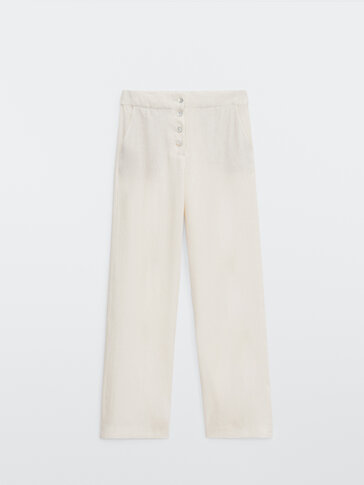 Linen and cotton flowing trousers