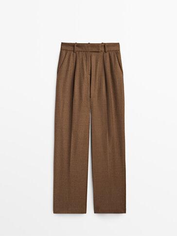 سروال بدلة بني 100% صوف