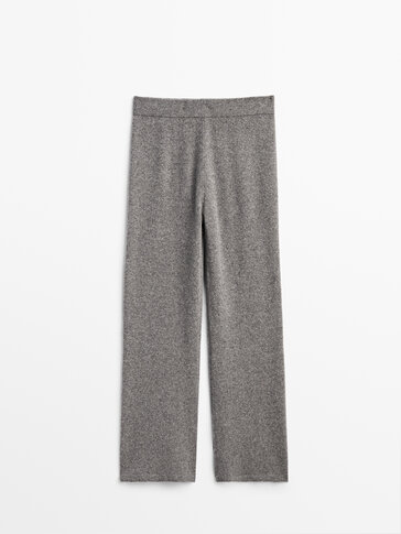 Flared knit trousers