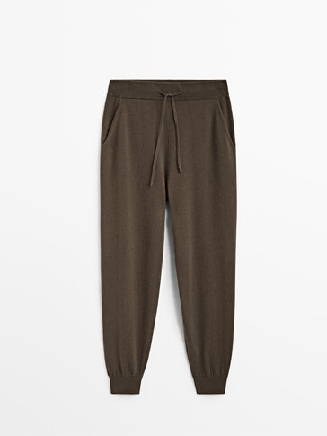 Cashmere wool jogging fit knit trousers
