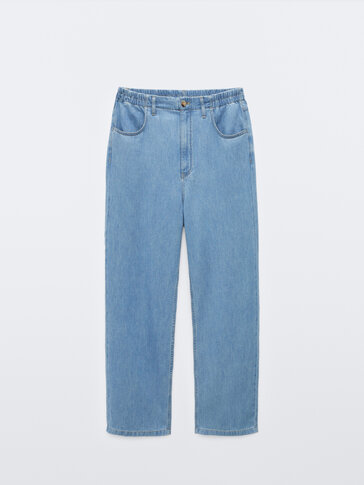 Straight fit jeans with elastic waistband