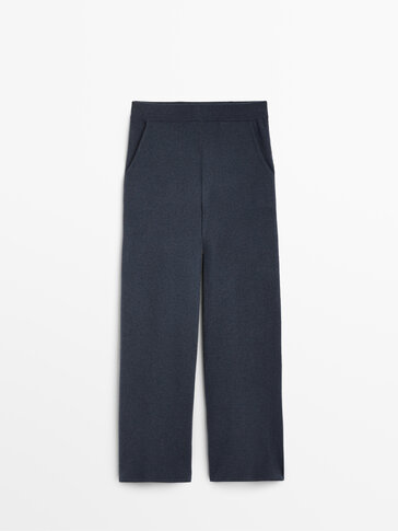 Flowing cashmere wool knit trousers