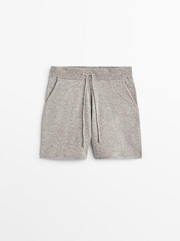 Cashmere wool knit shorts