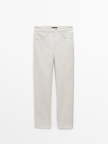 Slim-Cropped-Jeans mit halbhohem Bund