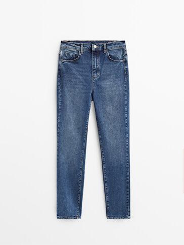 กางเกงยีนส์ทรงสกินนี่เอวสูง