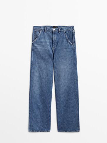 Ψηλόμεσο χυτό τζιν παντελόνι