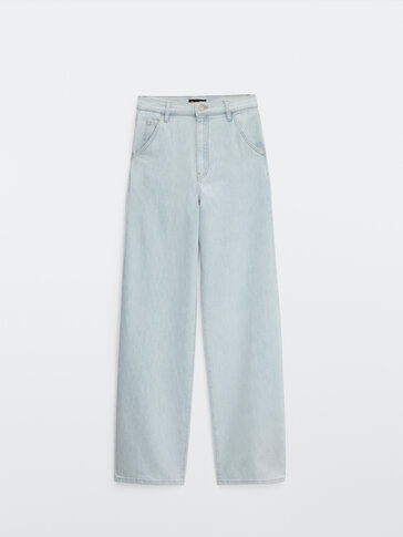 Relaxed fit, full-length high-waist jeans