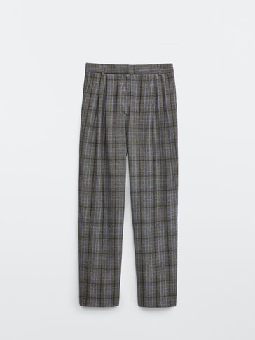 100% wool check trousers