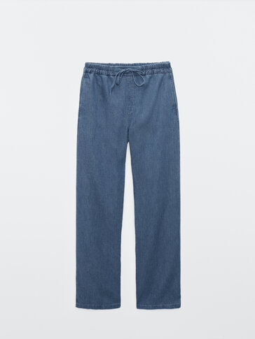 Cotton and linen jogging-fit trousers
