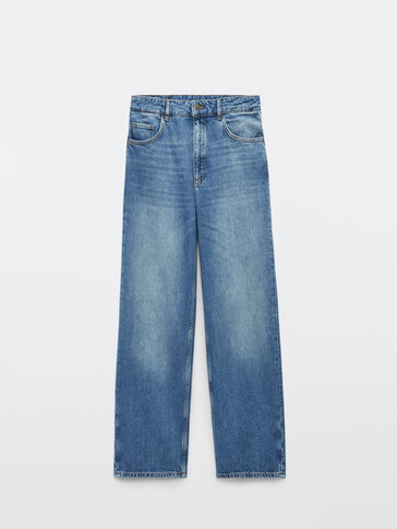 Mid-waist straight-fit jeans