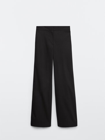 Casual black straight fit trousers
